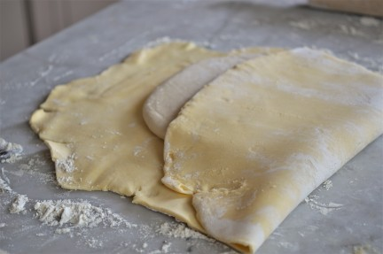 The dough becomes swaddled in a buttery blanket